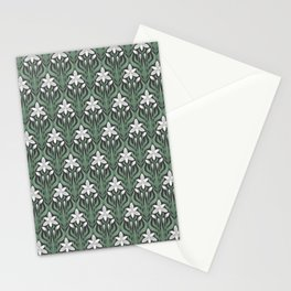 Seamless floral ornament in art Deco style. Ornithogalum umbellatum, the garden star-of-Bethlehem, grass lily, nap-at-noon, or eleven-o'clock lady. Stationery Cards