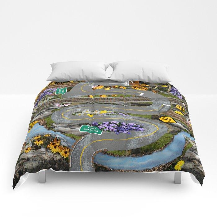 Mountain Roads Fun Street Map Collage Comforters