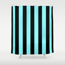 Turquoise and Black Stripes Shower Curtain