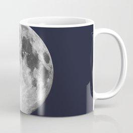 Waxing Gibbous Moon on Navy Coffee Mug