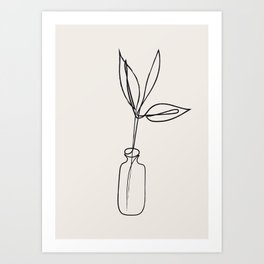 Abstract Leaves in Vase Drawing Art Print