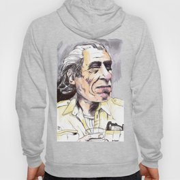 Charles Bukowski portrait in watercolor and ballpoint by McHank Hoody