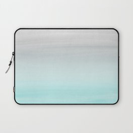 Touching Aqua Blue Gray Watercolor Abstract #1 #painting #decor #art #society6 Laptop Sleeve