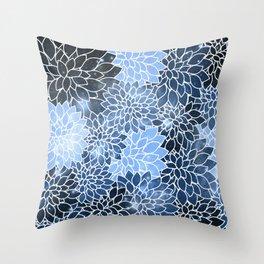Classic Blue Space Dahlias Throw Pillow