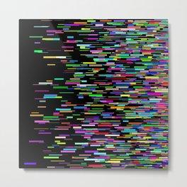 Rainbow bars zooming across black space horizon Metal Print