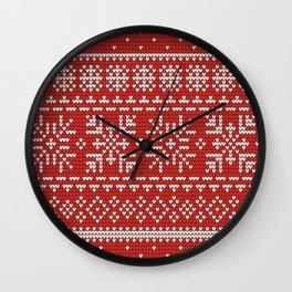 red winter knitted pattern Wall Clock