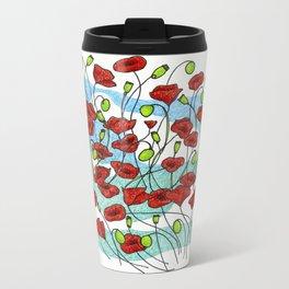 Field Poppies Metal Travel Mug