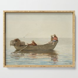 Three Boys in a Dory with Lobster Pots Serving Tray