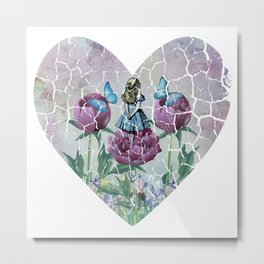 Alice In Wonderland - Wonderland Garden - Heart Shape Metal Print