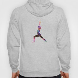 Warrior I 215 Watercolor Map Yoga Quote Hoody