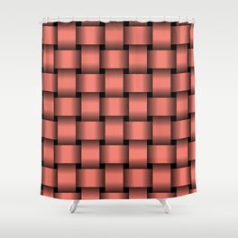 Large Salmon Pink Weave Shower Curtain