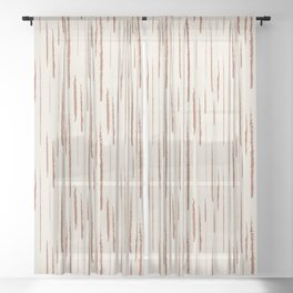 Cavern Clay SW 7701 Grunge Vertical Stripes on Creamy Off White SW7012 Sheer Curtain