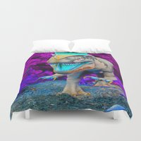 techno Duvet Covers featuring Techno Dino by Hyde the Wild
