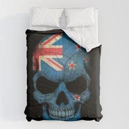 Dark Skull with Flag of New Zealand Comforters