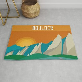 Boulder, Colorado - Skyline Illustration by Loose Petals Rug