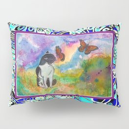 Cat and Monarchs Winged Trim Pillow Sham