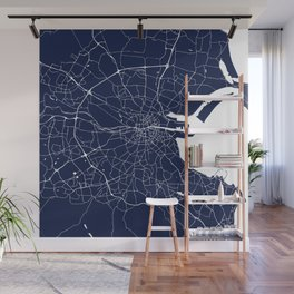 Dublin Street Map Navy Blue and White Wall Mural