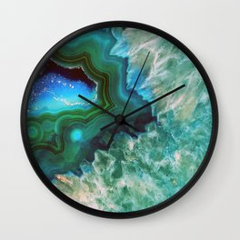 Green Turquoise Quartz Crystal Wall Clock
