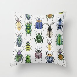 Colourful Bugs Throw Pillow