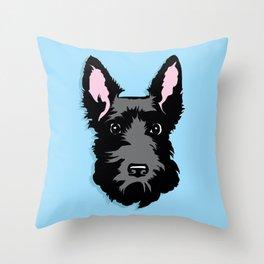 Black Scottie Dog on Blue Background Throw Pillow