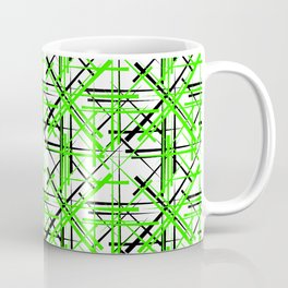Intersecting light green lines with a black diagonal on a white background. Coffee Mug