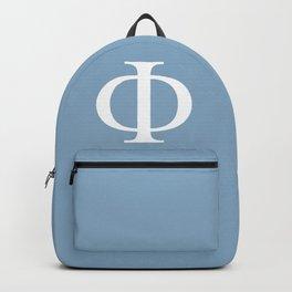 Greek letter Phi sign on placid blue background Backpack