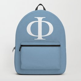Greek letter Phi sign on placid blue background Backpack
