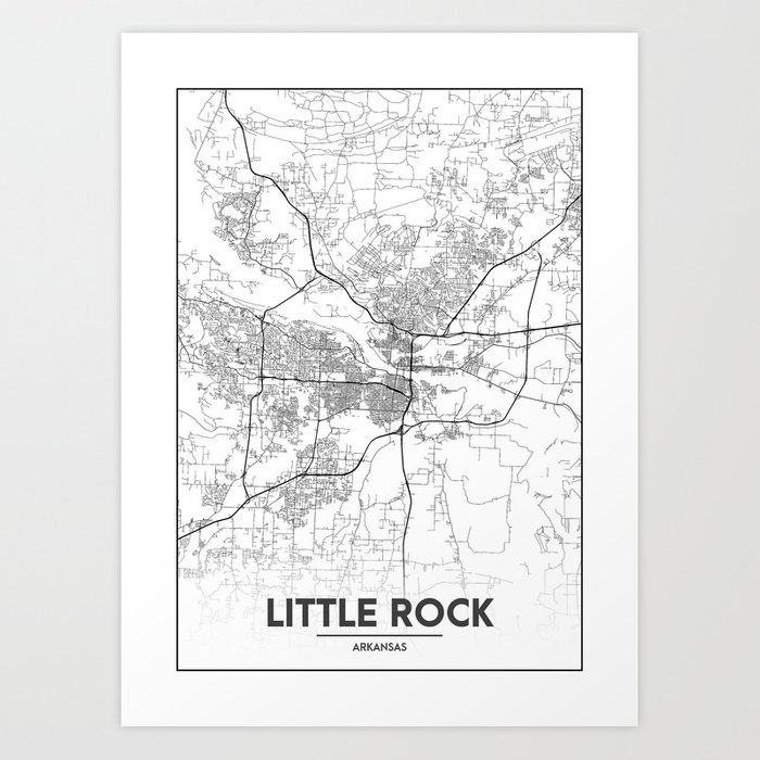 Minimal City Maps - Map Of Little Rock, Arkansas, United States Art Print  by valsymot