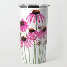 pink coneflowers watercolor Travel Mug
