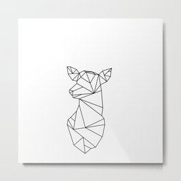 Geometric Doe (Black on White) Metal Print