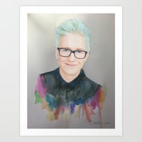 tyler oakley Art Prints featuring Tyler Oakley by Daniela Vasco