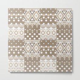 Patchwork seamless geometric folk pattern Metal Print