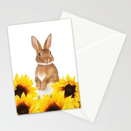 Sunflower Rabbit Stationery Cards