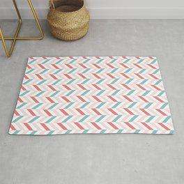 zigzag chevron stripes pink on white Rug