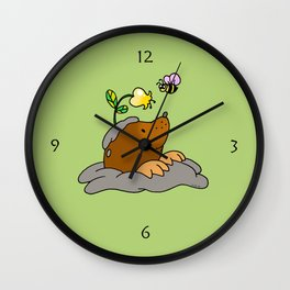 Brown mole with a garden flower bee Wall Clock