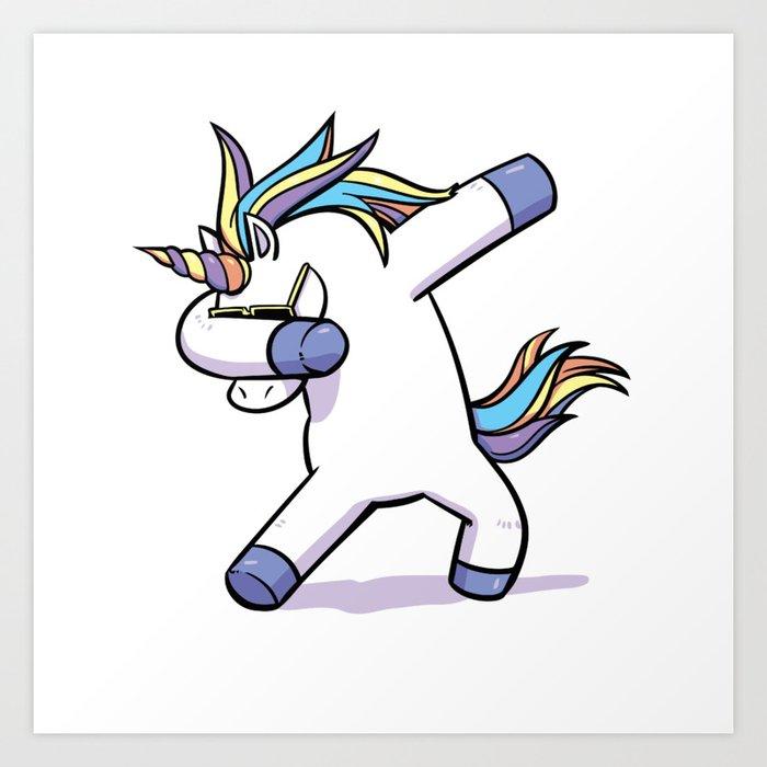 Dabbing unicorn art print by califournya society6 - Unicorn dabbing pictures ...