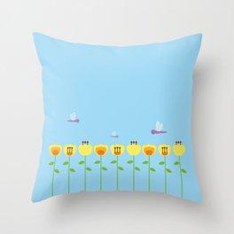 Yellow Flowers Garden Throw Pillow