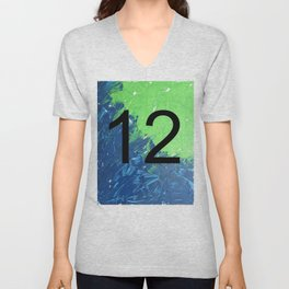 Blue & Green, 12, No. 2 Unisex V-Neck