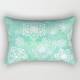 Snowflakes - green Rectangular Pillow