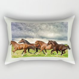 Horses in the Field Rectangular Pillow