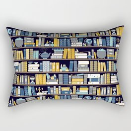 Book Case Pattern - Blue Yellow Rectangular Pillow