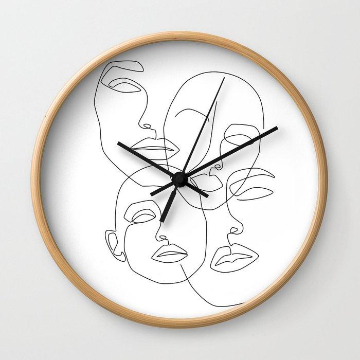 Messy Faces Wall Clock