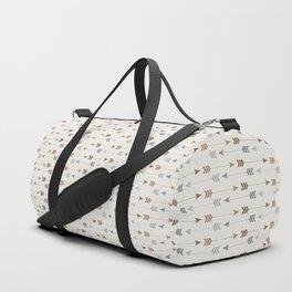 Tribal Arrows Pattern - Cream, Brown and Grey Duffle Bag