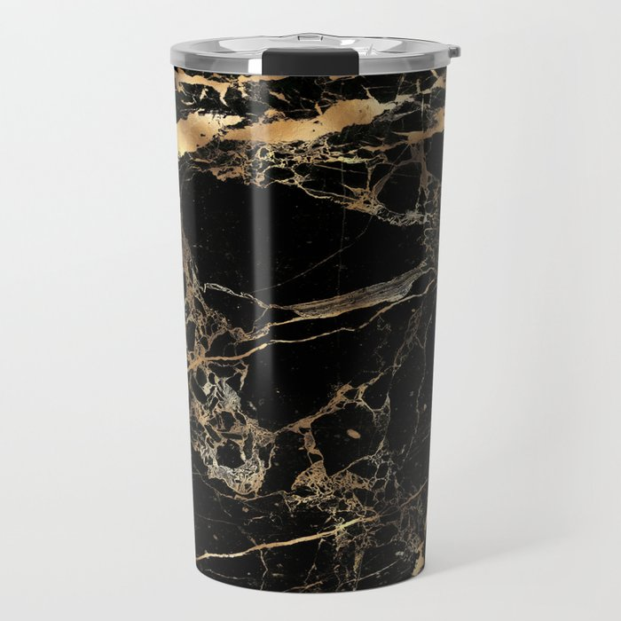 Marble, Black + Gold Veins Travel Mug