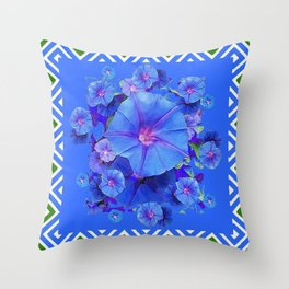 Baby Blue Morning Glories Green Floral Art Throw Pillow