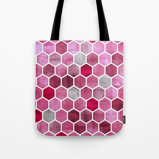 Pink Ink - watercolor hexagon pattern Tote Bag