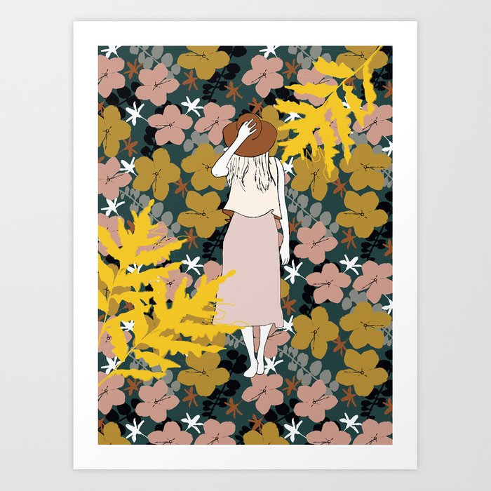 Woman with hat Art Print