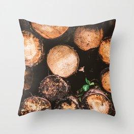 Rustic Firewood Throw Pillow