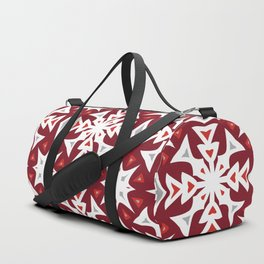 Snowflakes on Red Duffle Bag