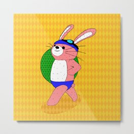 Let's Go To A Pool (bunny) Metal Print